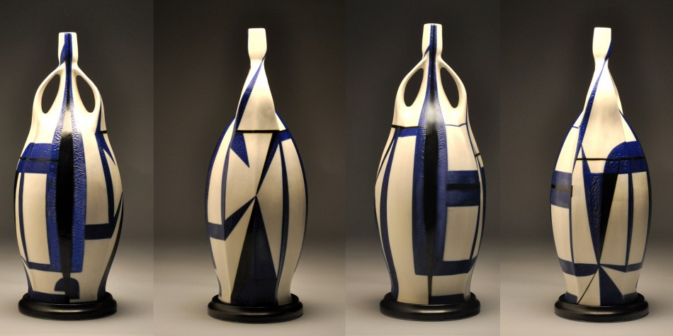 Thrown and altered porcelain with underglaze2012 sold